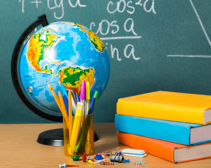 Classroom globe on teacher's desk