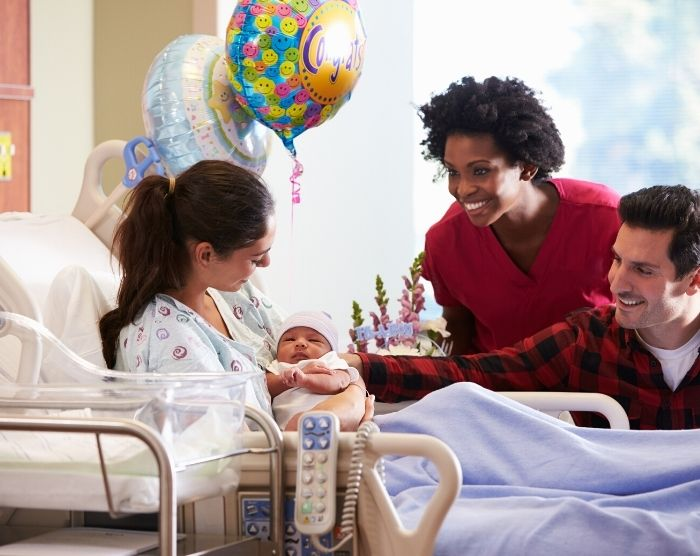 Where do nurses make the most money with lady taking care of new mom and new baby in the hospital