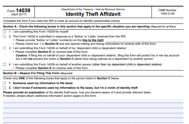 IRS Form 14039 Identity Theft Affidavit