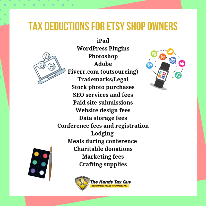 Etsy tax tips. Tax deductions for etsy shop owners. #taxtips #etsy