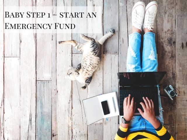 Dave Ramsey Baby Step 1 Start an Emergency Fund with lady in yellow and black shirt making list of debt on laptop
