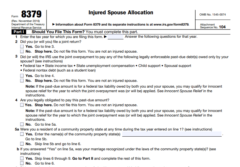 Injured Spouse Allocation Screenshot from IRS