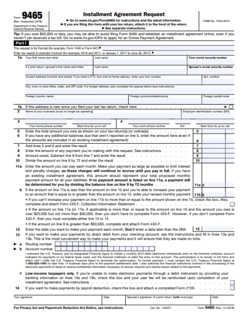 IRS Form 9465 Page One