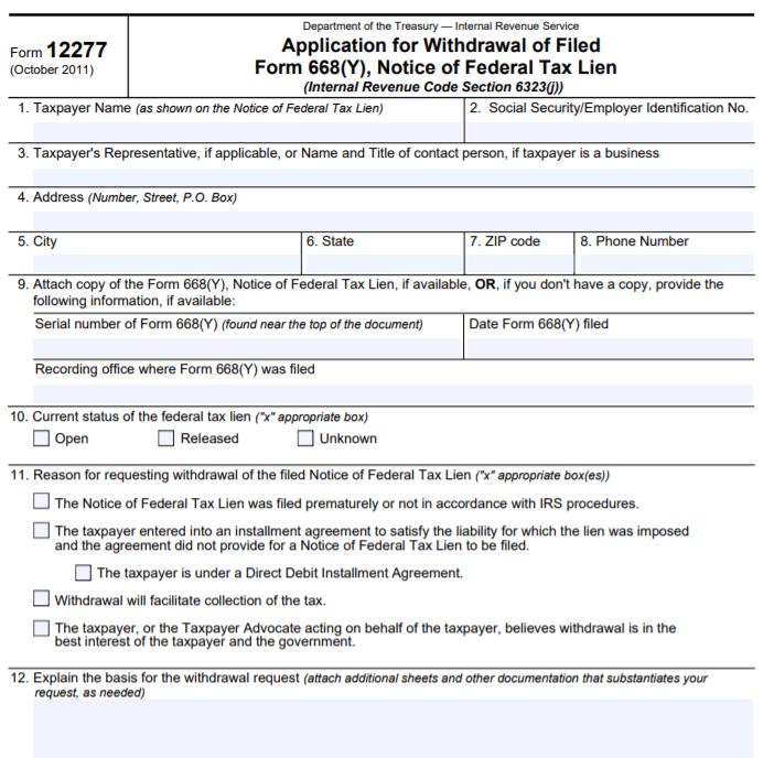 IRS form 1277 Federal Tax Lien