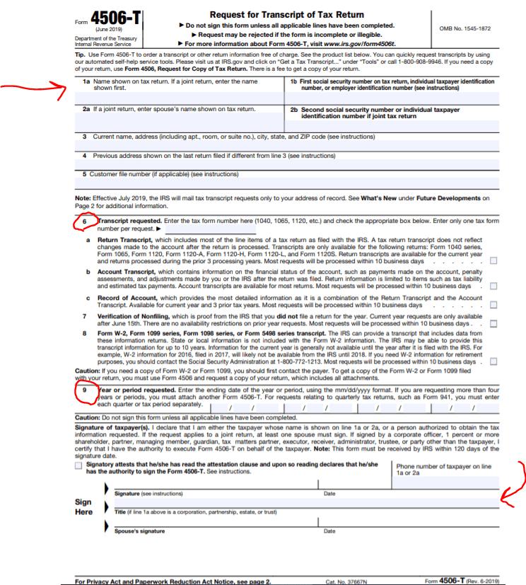 IRS Form 4506-T PDF