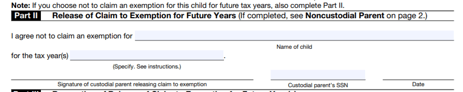 IRS Form 8332 Part 2
