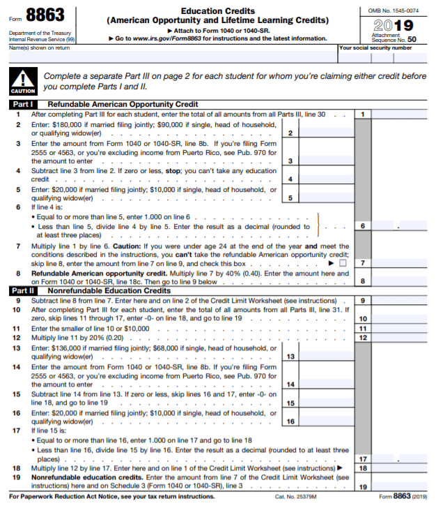 IRS Form 8863 PDF Page One of Two
