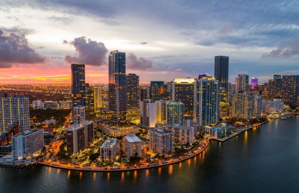 Downtown Miami Florida at Nighttime the Advantages and Disadvantages of Living in Florida.