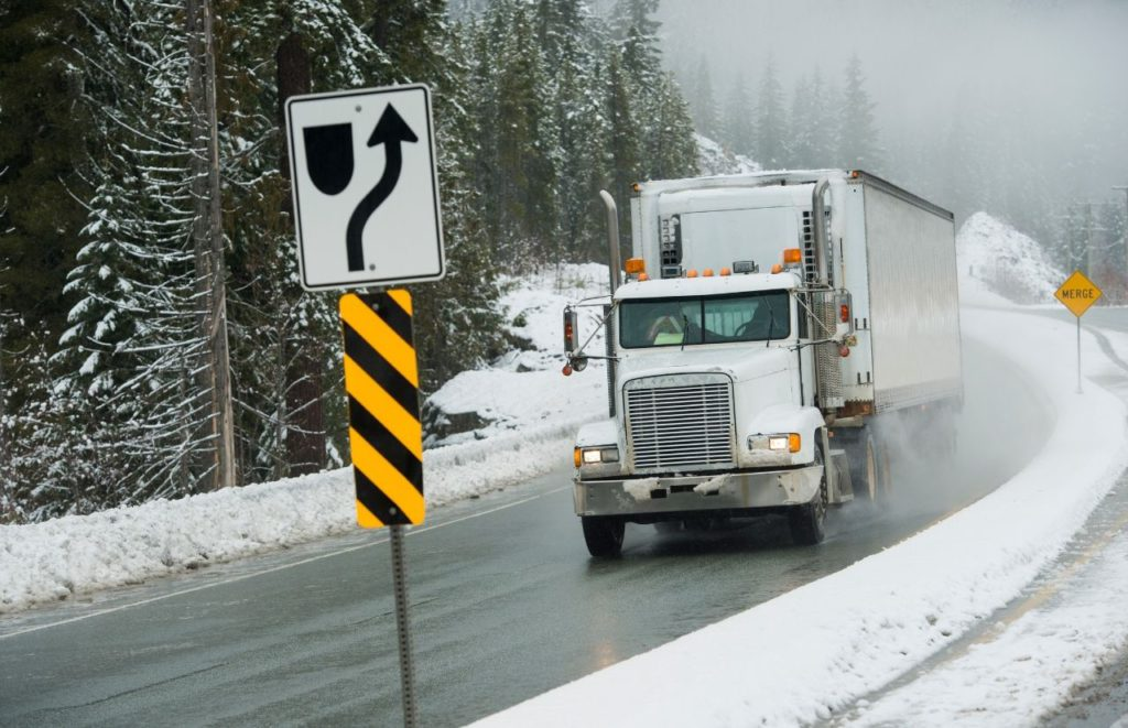 Trucker on the icy road